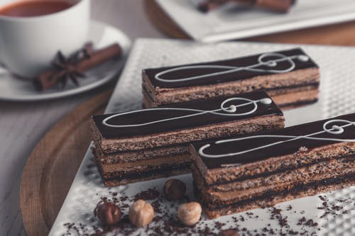 A piece of chocolate cake on a table